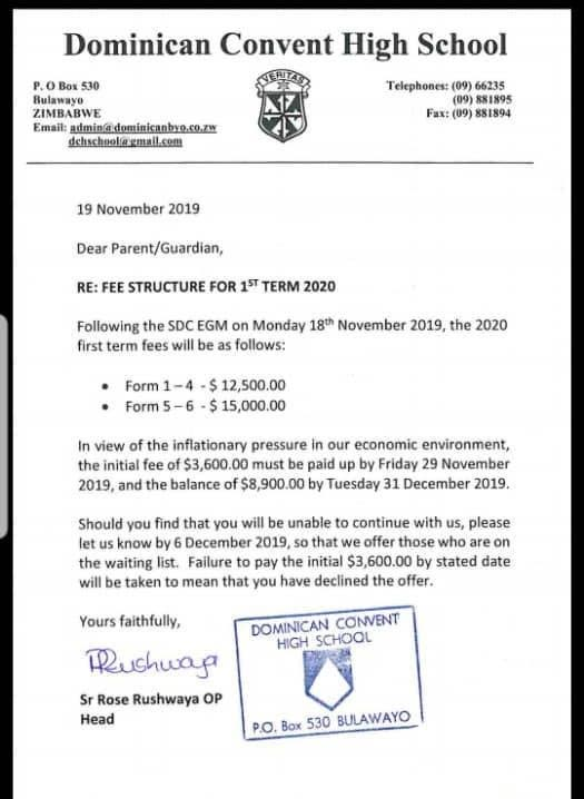 Dominican Convenant Fees