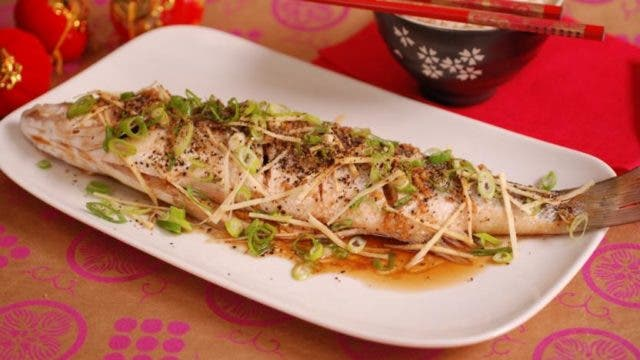 Steamed Cantonese-style fish with spicy