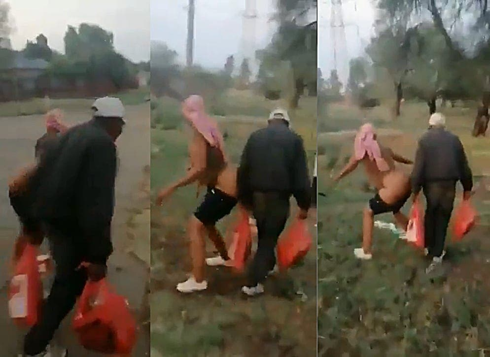 Woman s.e.xually abuses old man, bends over him while n@ked