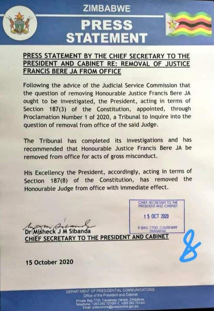 Justice Bere firing letter
