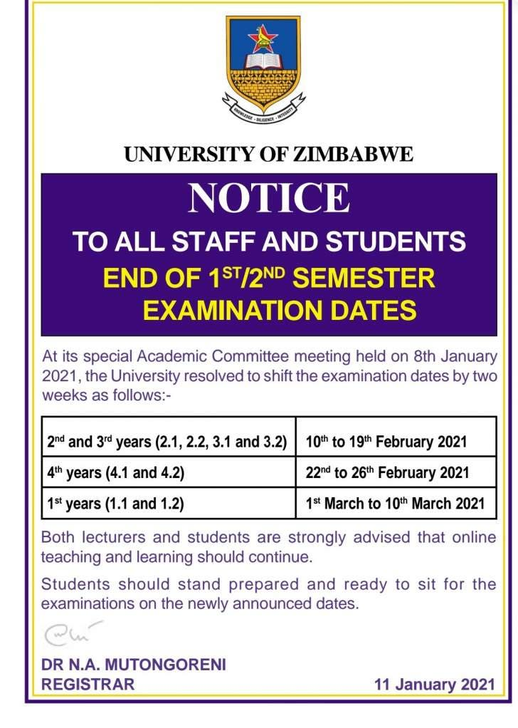 UZ Exam suspension